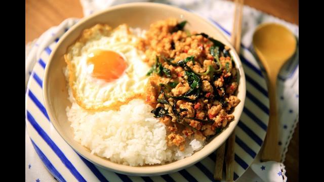 30分鐘煮完4菜1湯 開胃下飯料理 ❤️   泰式打拋雞肉&魚香烘蛋