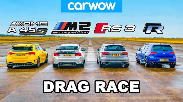 AMG A45s vs BMW M2 vs AUDI Rs3 vs VW Golf R --直線加速賽