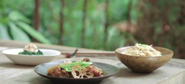 【三十分鐘上菜】日式輕食:野菇炊飯、筑前煮、金槍魚拌菠菜 |本餐熱量447大卡
